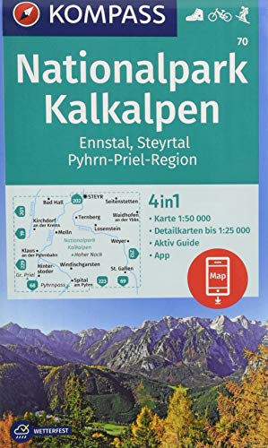 KOMPASS Wanderkarte Nationalpark Kalkalpen, Ennstal, Steyrtal, Pyhrn-Priel-Region: 4in1 Wanderkarte 1:50000 mit Aktiv Guide und Detailkarten inklusive ... in der KOMPASS-App. Fahrradfahren. Skitouren.