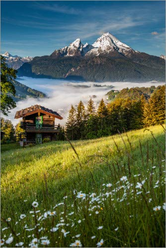 Posterlounge Leinwandbild 40 x 60 cm: Frühling in Berchtesgaden von Fotomagie - fertiges Wandbild, Bild auf Keilrahmen, Fertigbild auf echter Leinwand, Leinwanddruck